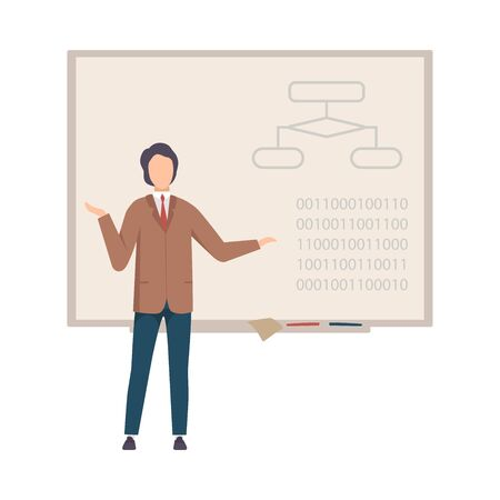 Man stands near the blackboard and teaches programming vector illustration on White Background.