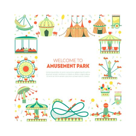 Welcome to Amusement Park Banner Template with Carousels, Festive Park Attractions and Space for Text Vector Illustration