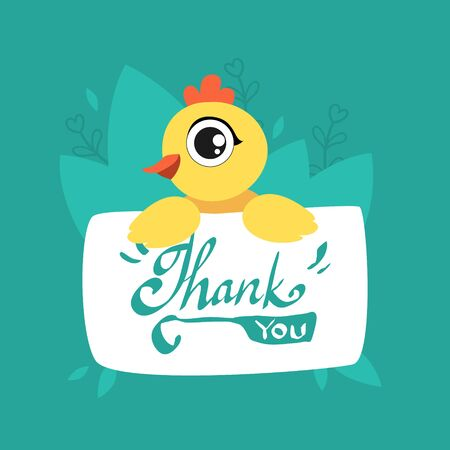 Cute Chicken Holding Card with Thank You Massage, Adorable Bird with Placard Vector Illustration