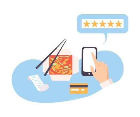 Person leaves a review on the food vector illustration
