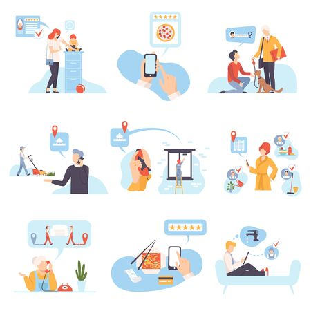 Characters in different situations vector illustration on White Background. Иллюстрация