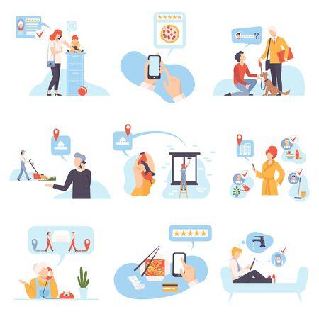 Zeichen in verschiedenen Situationen vector Illustration auf weißem Hintergrund.
