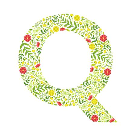 Capital Letter Q, Green Floral Alphabet Element, Font Uppercase Letter Made of Leaves and Flowers Pattern Vector Illustration Vettoriali