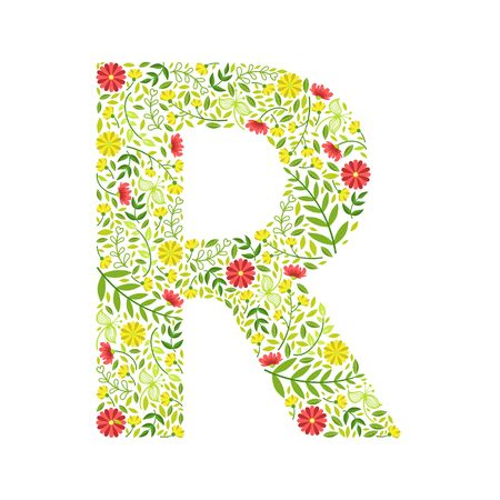 Capital Letter R, Green Floral Alphabet Element, Font Uppercase Letter Made of Leaves and Flowers Pattern Vector Illustration