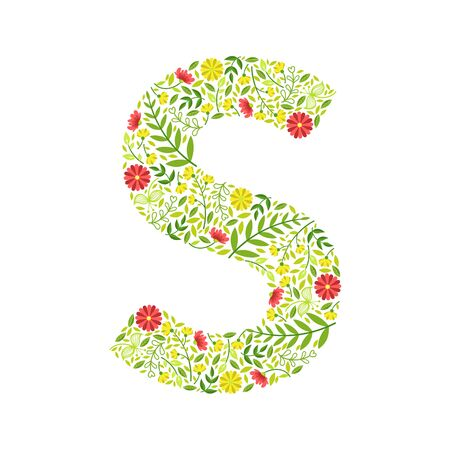Capital Letter S, Green Floral Alphabet Element, Font Uppercase Letter Made of Leaves and Flowers Pattern Vector Illustration