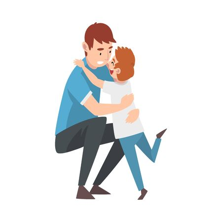 Man crouched down and hugs the child cartoon vector illustration