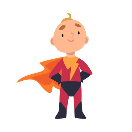 Boy stands in superhero costume vector cartoon illustration