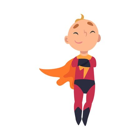 Boy in superhero costume crossed his arms over his chest cartoon vector illustration Illustration