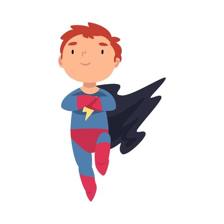 Boy dressed as a superhero in flight cartoon vector illustration Illustration