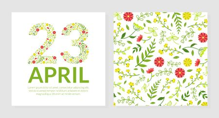 23 April Greeting or Invitation Card Template with Floral Pattern Vector Illustration, Flat Style. Çizim