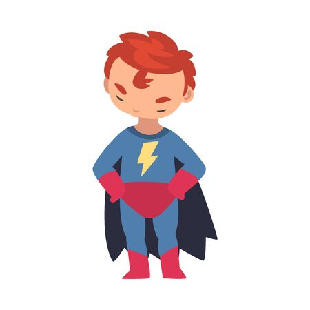 A boy in a superhero costume holds his hands on his hips and lowered his head and shakes it cartoon vector illustration  イラスト・ベクター素材