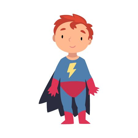 Boy in a superhero costume stands with his fingers spread cartoon vector illustration