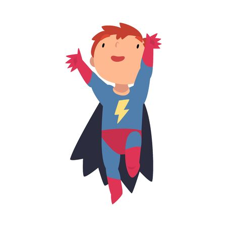 Boy in a superhero costume joyfully jumps cartoon vector illustration