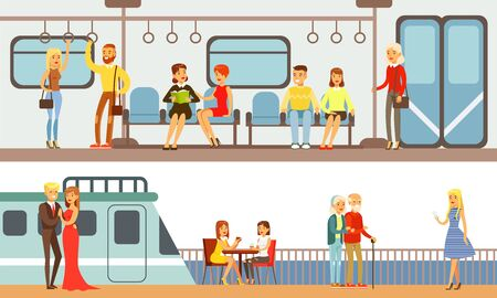 People Using Public Transport Set, Passengers of Underground and Cruise Ship Vector Illustration in Flat Style. Stock Illustratie