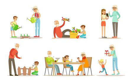 Grandpa And Grandma Spending Time with Their Grandchildren Set, Cute Boys And Girls Watering Plants, Having Dinner, Playing Toys with their Grandparents Vector Illustration on White Background.