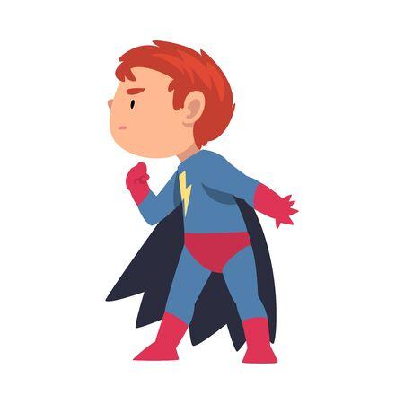 Boy in a superhero costume sneaks sideways cartoon vector illustration on White Background 向量圖像