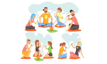 Friends Smoking Hookah and Electronic Cigarettes Set, Men and Women Sotting on the Floor and hatting Vector Illustration on White Background.