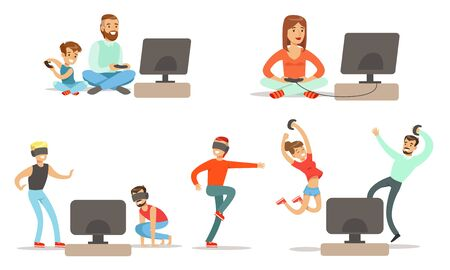 People Playing Video Games , Set, Men, Happy Women and Kids Characters with Vr Glasses and Digital Gadget Devices Relaxing at Home Vector Illustration on White Background.