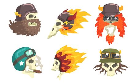 Skull Heads Wearing Retro Helmets Set, Biker Skull Bones Vector Illustration on White Background.