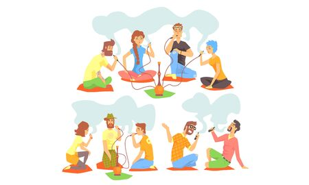 Friends Smoking Hookah and Electronic Cigarettes Set, Young Men and Women Sotting on the Floor and hatting Vector Illustration on White Background.