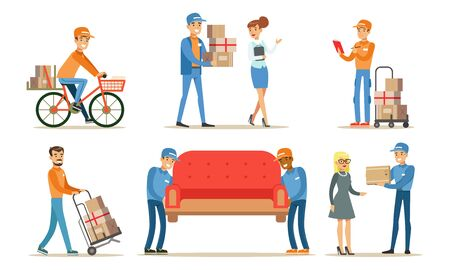 Delivery Service Workers Set, Couriers Characters Delivering Packages and Furniture to Clients Vector Illustration on White Background. Ilustracja