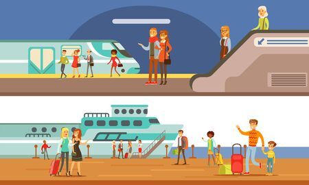 People Using Public Transport Set, Passengers of Underground and Cruise Ship, Subway Underground Modern Interior Vector Illustration in Flat Style.