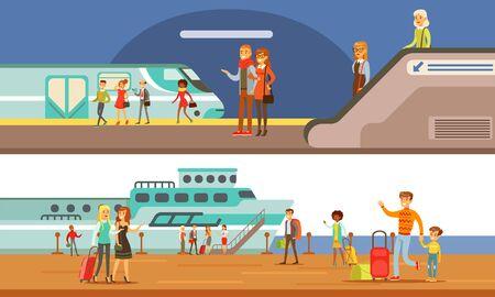 People Using Public Transport Set, Passengers of Underground and Cruise Ship, Subway Underground Modern Interior Vector Illustration in Flat Style.