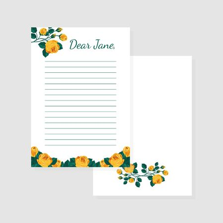Letter Shirt of Paper Template with Flowers, Lined amd Blank Notebook Papers Vector Illustration, Web Design. Çizim
