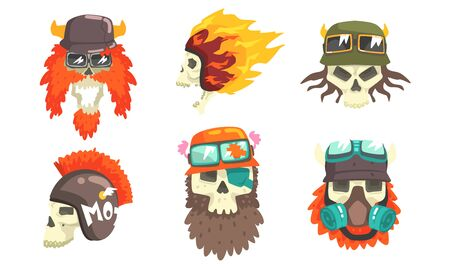 Skull Heads with Beards Wearing Retro Helmets Set, Biker Skull Bones Vector Illustration on White Background.
