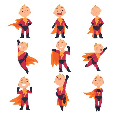 Superhero kids characters in different situations. Boy in a costume stands, screams joyfully and spreads fingers, expresses pride, in flight pose holds his hand up, dancing, runs with his arm outstretched, rejoices holding his fists up, jumps to take off and crossed his arms over his chest Cartoon vector illustration Standard-Bild - 131778927