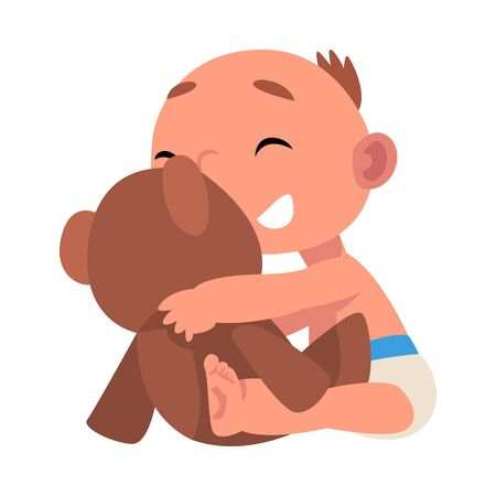 Baby in diaper plays with his toy cartoon vector illustration Ilustrace