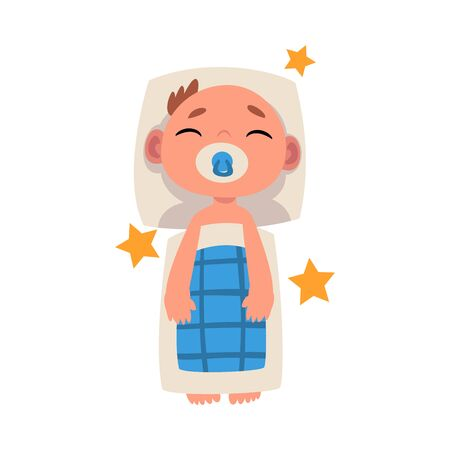 Baby sleeps under a blanket with a pacifier on the white background cartoon vector illustration