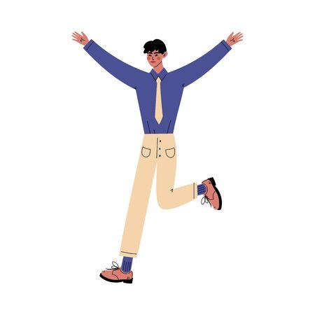 Guy stands raising his hands ang leg up cartoon vector illustration