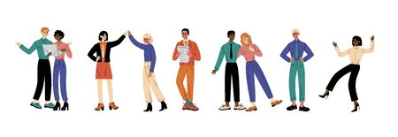 Characters in different situations People in colorful outfits in different situations. Friends looking at something on a laptop, two girls stand and hold hands above their heads, guy holds a stack of papers, girl and boy stand and hug, person stands and holds his hands on his hips, woman is dancing raising her hands up. cartoon vector illustration Ilustracja