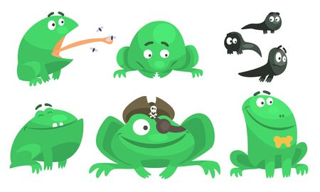 Collection of Green Frog with Various Emotions, Funny Amphibian Animal Cartoon Character in Different Situations Vector Illustration
