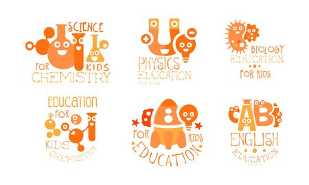 Kids Science Education Templates Set, Chemistry, Physics, Biology, English Labels Vector Illustration
