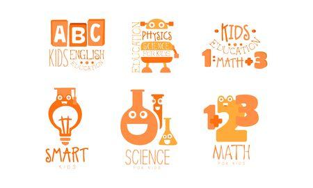 Kids Science Education  Templates Set, Physics, Math, English Labels Vector Illustration