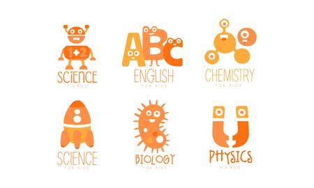 Kids Science Education Templates Set, Chemistry, Physics, Biology, English Orange Labels Vector Illustration