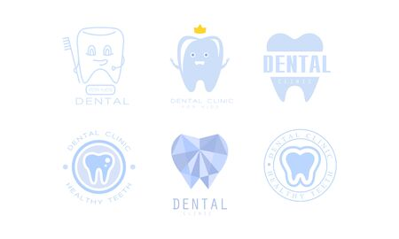Dental Clinic  Templates Set, Kids Dental Care, Healthy Teeth Badges Vector Illustration