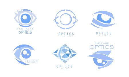 Eye Care Optics  Collection, Clinic or Ophthalmology Cabinet Badges Vector Illustration