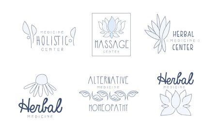 Alternative Medicine Center Hand Drawn Labels Set, Herbal, Holistic Medicine Center Vector Illustration