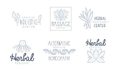 Alternative Medicine Center Hand Drawn Labels Set, Herbal, Holistic Medicine Center Vector Illustration Stock fotó - 131827378