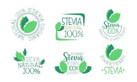 Organic Stevia   Templates Set, Natural Sweetener Green Badges Vector Illustration Vector Illustration