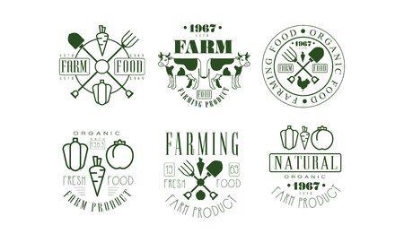 Natural Organic Farm Food Retro  Templates Set, Farming Product Badges Vector Illustration