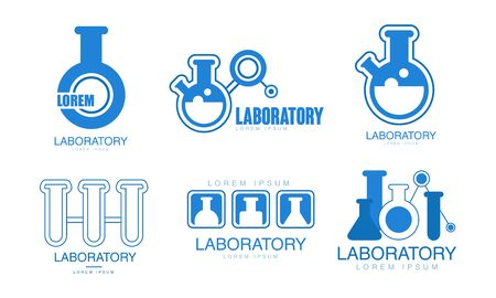 Laboratory   Collection, Medicine, Biotechnology, Tech Researches Badges Vector Illustration on White Background. Ilustracja