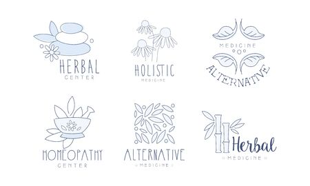 Alternative Homeopathy Center Hand Drawn Labels Set, Holistic Medicine Vector Illustration