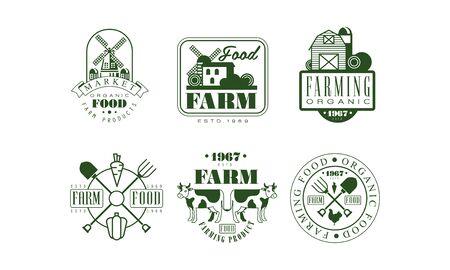 Farm Food Retro  Templates Set, Organic Food Market Badges Vector Illustration
