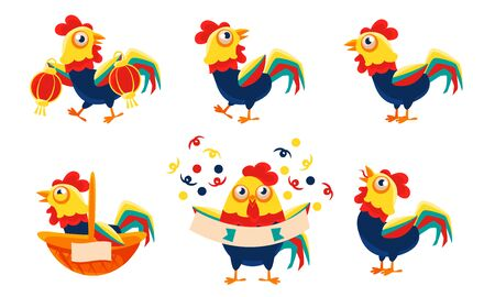 Collection of Roosters with Bright Plumage in Different Situations, Funny Bird Character Vector Illustration
