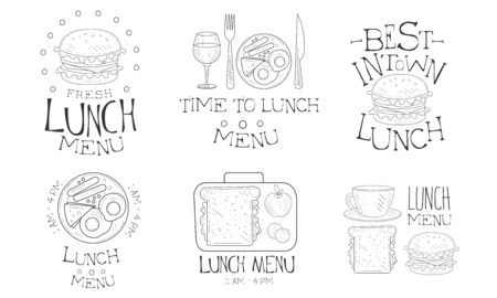 Time to Lunch Hand Drawn Retro Labels Set, Best in Town Fresh Natural Food Menu Monochrome Badges Vector Illustration