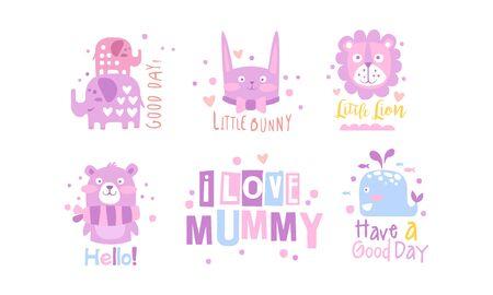 I Love Mummy Childish Prints Collection, Baby Nursery Room Decoration Elements Vector Illustration